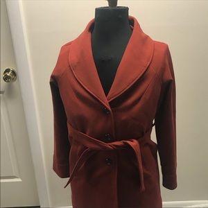 Forever 21 ⚜️ Burnt Orange Coat W/ Faux Fur Trim